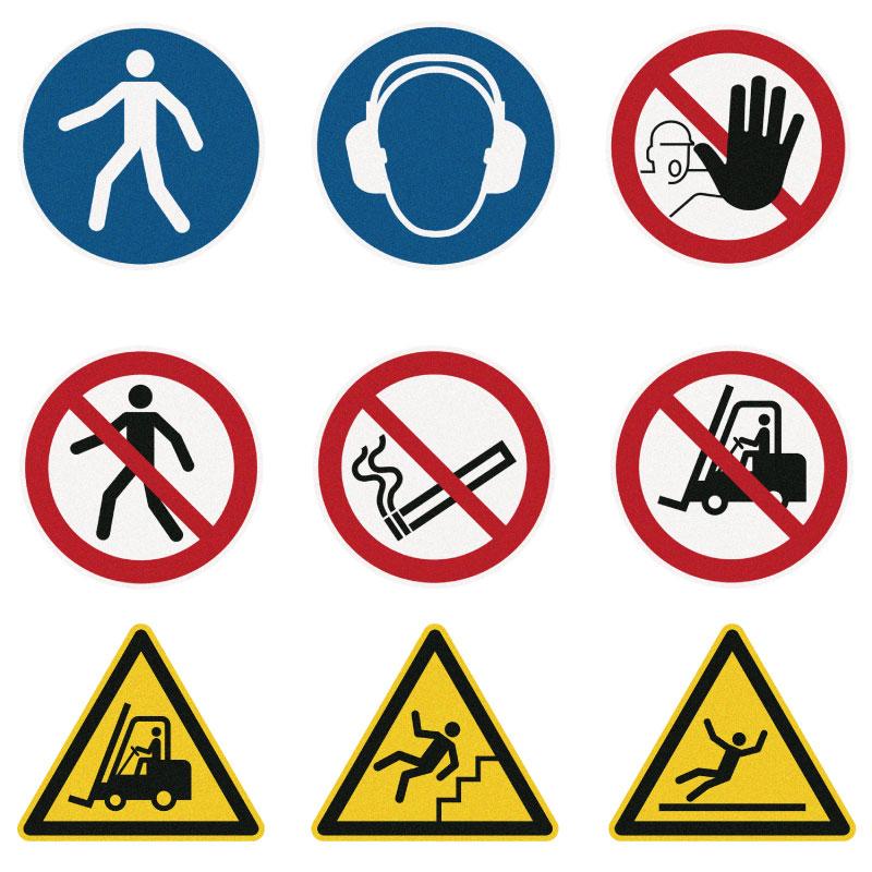 Gulv skilte til opmærkning af lager og produktion