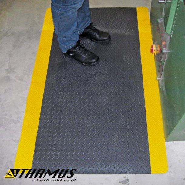 Ergonomisk måtte med dørkplade mønster, sort med gul kant