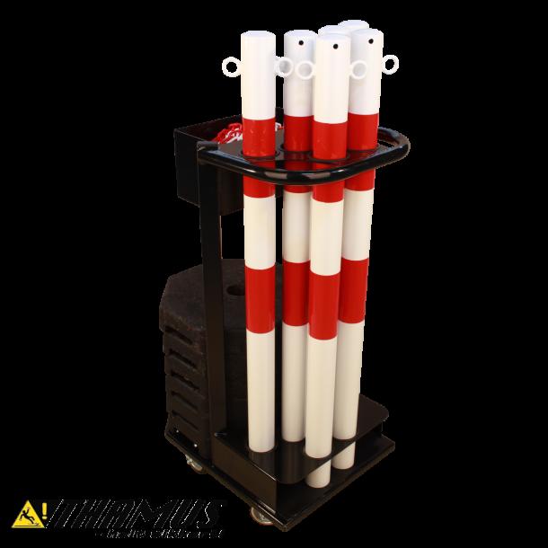 Vogn til afspærringsstolper - inkl. rød/hvid stolper, kæde og fødder