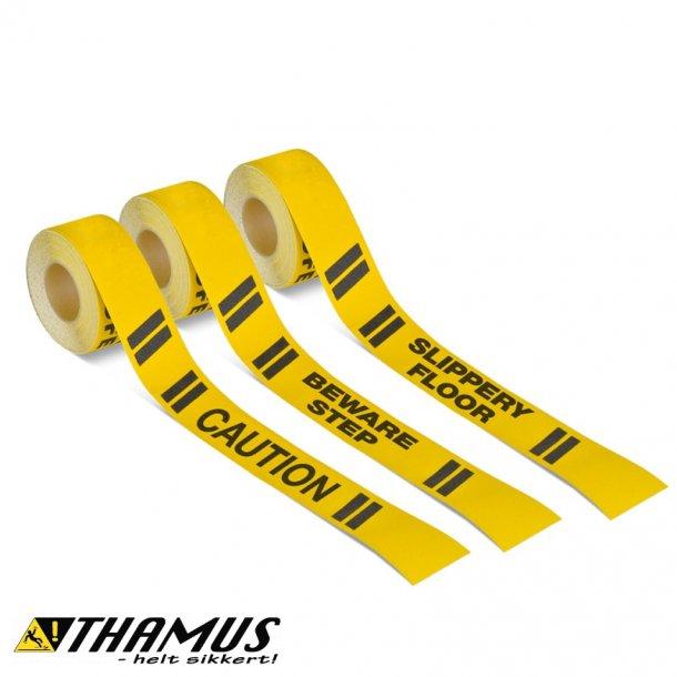 Skridsikker Tape, Gul/Sort med Sort tekst, Advarende