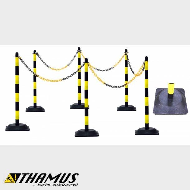 Gul/Sort - Afspærringsstolpe Sæt med kæde og fødder