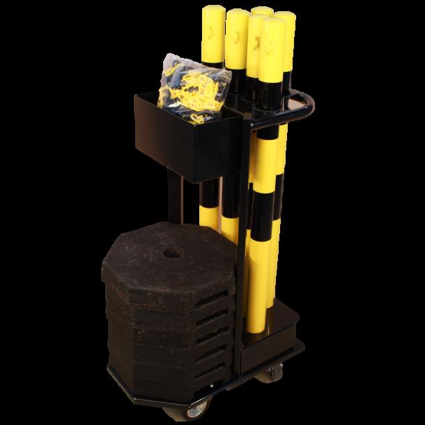 Vogn til afspærringsstolper - inkl. gul/sort stolper, kæde og fødder