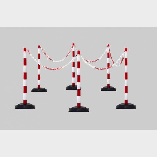 Rød/Hvid - Afspærringsstolpe Sæt med kæde og fødder
