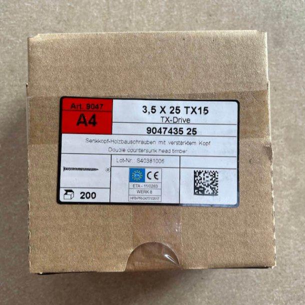 Spånpladeskrue 3,5x25mm A4 Syrefast TX15 - 200stk.